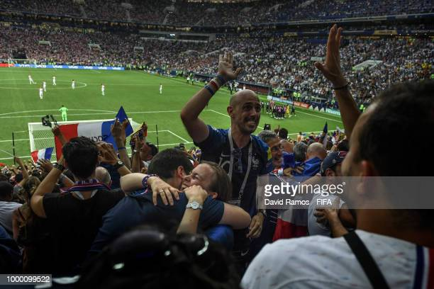 France fans celebrate after Paul Pogba scored his team's third goal in the 2018 FIFA World Cup Russia Final between France and Croatia at Luzhniki...