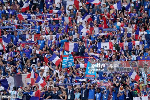 France fans cheer for their team during the 2018 FIFA World Cup Russia Round of 16 match between France and Argentina at Kazan Arena on June 30 2018...