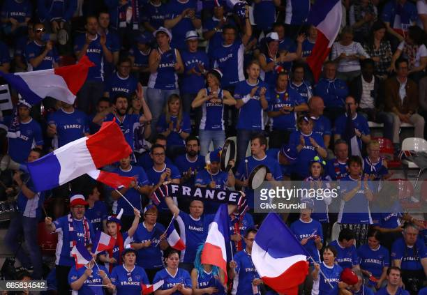 France fans cheer on their team during day one of the Davis Cup World Group QuarterFinal between France and Great Britain at Kindarena on April 7...