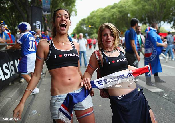 France fans enjoy the atmosphere outside the stadium prior to the UEFA EURO 2016 Group A match between France and Albania at Stade Velodrome on June...