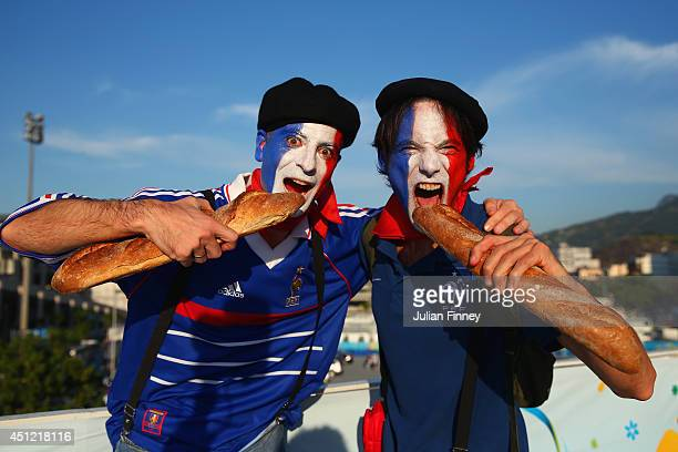 France fans enjoy the atmosphere prior to the 2014 FIFA World Cup Brazil Group E match between Ecuador and France at Maracana on June 25 2014 in Rio...