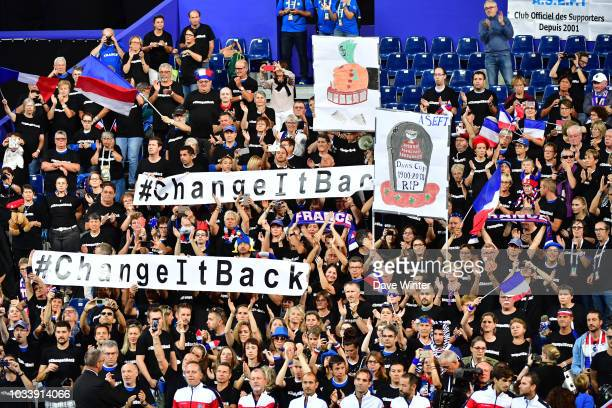 France fans protest against the proposed changes to the tournament format during Day 2 of the Davis Cup semi final on September 15 2018 in Lille...