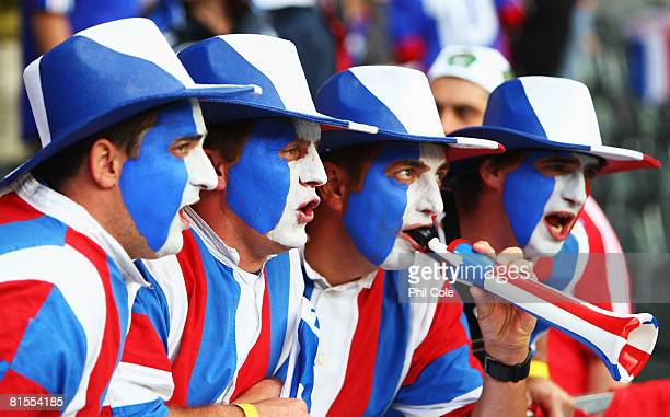 France fans show their support ahead of the UEFA EURO 2008 Group C match between Netherlands and France at Stade de Suisse Wankdorf on June 13, 2008...
