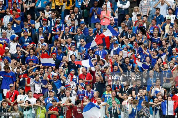 France fans show their support during the 2018 FIFA World Cup Russia Quarter Final match between Uruguay and France at Nizhny Novgorod Stadium on...