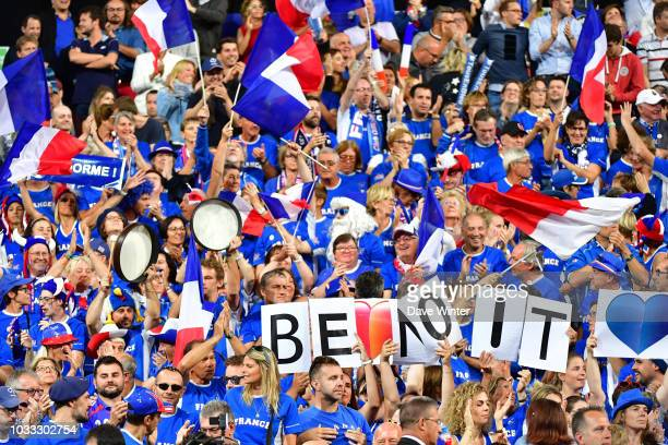 France fans supporting Benoit Paire of France during Day 1 of the Davis Cup semi final on September 14 2018 in Lille France