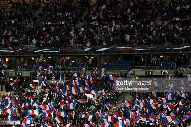 France fans wave flags during the International friendly match between France and Croatia at Stade de France at Stade de France on March 29 2011 in...