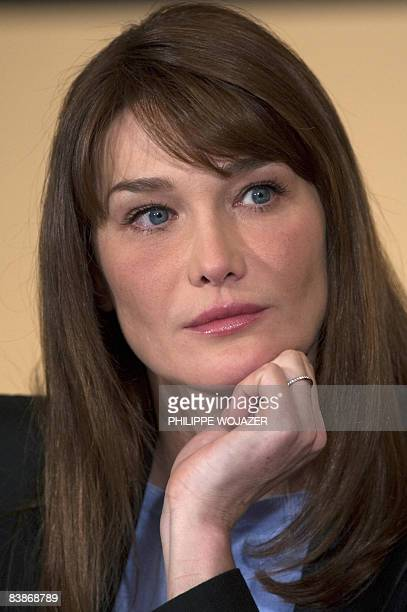 France First Lady Carla Bruni-Sarkozy attends a press conference to mark World AIDS Day by unveiling her new mission as the first ambassador to the...
