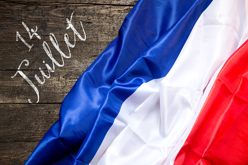France Flag on wooden Background, concept 14th July 532112428
