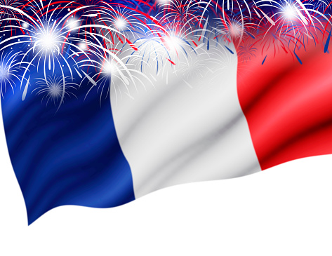 France flag with firework on white background for bastille day 695461758