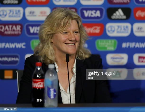 France Football Federation and Local Organizing Committee VicePresident Brigitte Henriques speaks during the FIFA Closing Press Conference at Stade...
