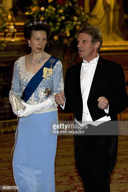 France Foreign Affairs Minister Bernard Kouchner speaks with Britain's Princess Ann on their way to a state banquet with Britain's Queen Elisabeth II...