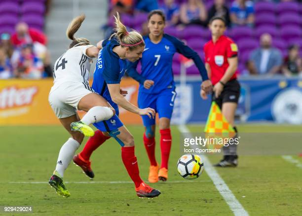 France forward Eugénie Le Sommer gets fouled during the SheBelieves Cup between Germany and France on March 7th 2017 at Orlando City Stadium in...