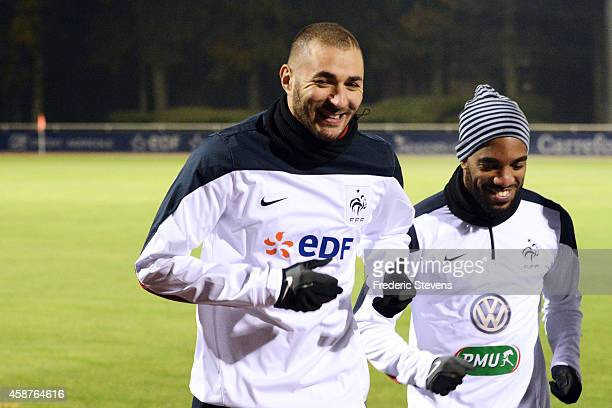 France forward Karim Benzema and forward Alexandre Lacazette during a training session at the French national football team centre in...