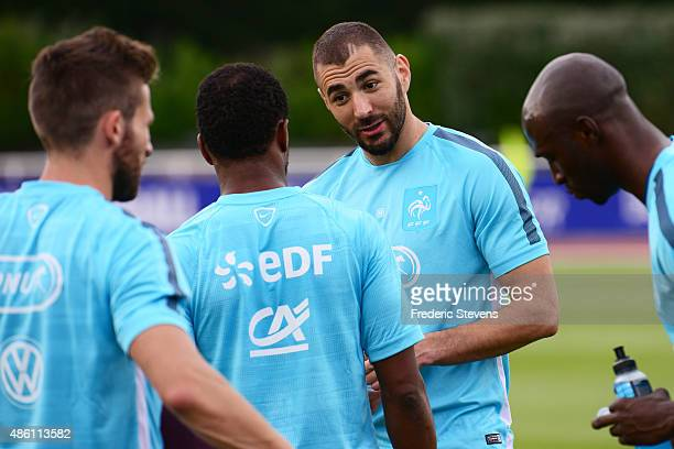 France forward Karim Benzema during a training session at the French national football team centre in ClairefontaineenYvelines on August 31 2015 in...