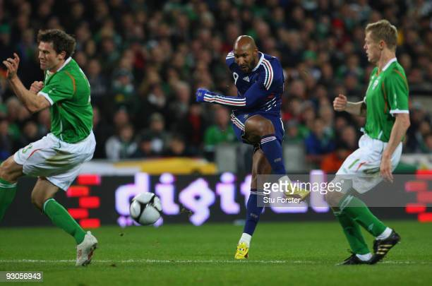 France forward Nicolas Anelka gets in a shot at goal during the FIFA 2010 World Cup Qualifier play off first leg between Republic of Ireland and...