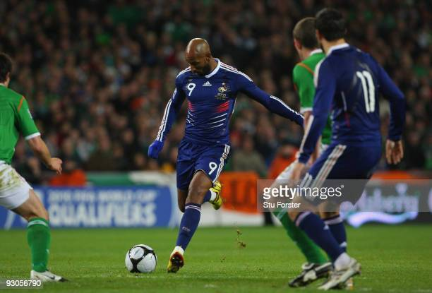 France forward Nicolas Anelka scores during the FIFA 2010 World Cup Qualifier play off first leg between Republic of Ireland and France at Croke Park...