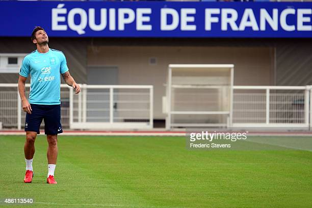 France forward Olivier Giroud during a training session at the French national football team centre in ClairefontaineenYvelines on August 31 2015 in...