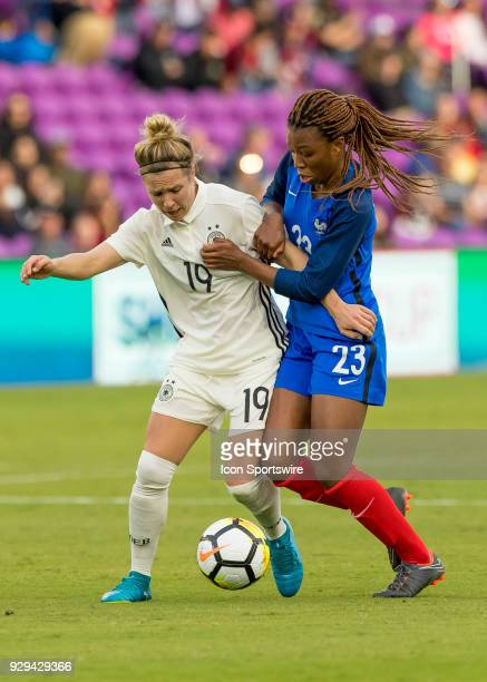 France forward Valérie Gauvin scores a goal during the SheBelieves Cup between Germany and France on March 7th 2017 at Orlando City Stadium in...