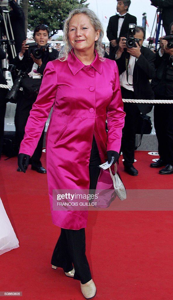 French fashion designer Agnes B arrives for the official projection of Chinese director Wong Kar-Wai's '2046', 20 May 2004, at the 57th Cannes Film Festival. China's lone entry in the festival's official competition for the prestigious Palme D'Or is a poetic film that was five years in the making.
