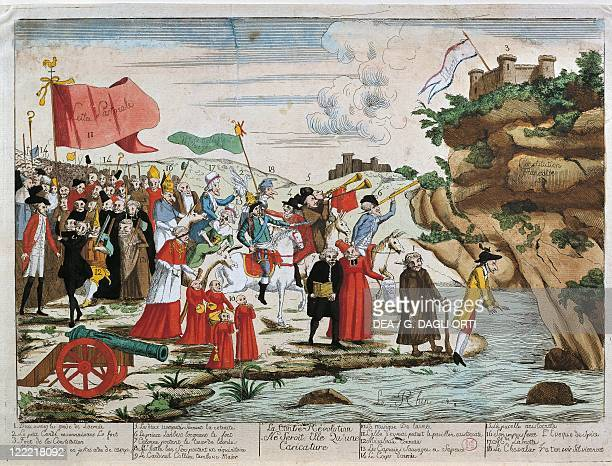 France French Revolution Caricature of emigrants crossing the Rhine