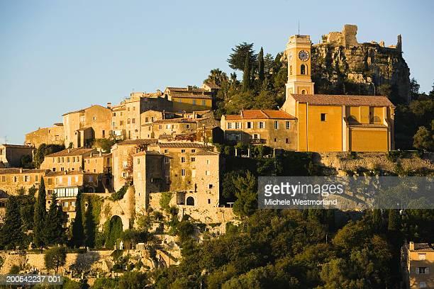 france, french riviera, alpes-maritimes, eze, village and cathedral - eze village photos et images de collection