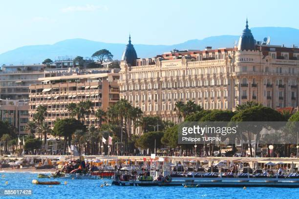 France, French riviera. Cannes. Intercontinental Carlton hotel beach.