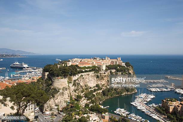 france, french riviera, cote d'azur, monaco, monaco-ville and the port of fontvielle - monaco stock pictures, royalty-free photos & images