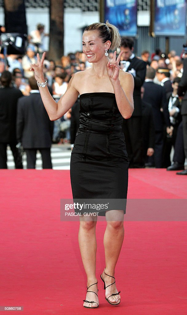 French television personality Celine Balitran arrives for the official projection of Chinese director Wong Kar-Wai's '2046', 20 May 2004, at the 57th Cannes Film Festival. China's lone entry in the festival's official competition for the prestigious Palme D'Or is a poetic film that was five years in the making.