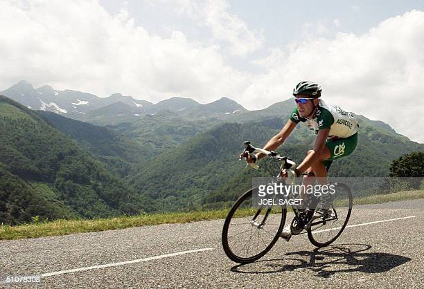 Frenchman Christophe Moreau rides in the mountain during the 13th stage of the 91st Tour de France cycling race between Lannemezan and Plateau de...