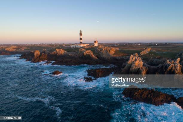 france from the sky : bretagne - ouessant : phare du créac'h - brest brittany stock pictures, royalty-free photos & images