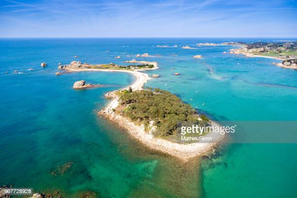 "france from the sky : bretagne, plougrescant and the amazing ""cote de granite rose"" - cotes d'armor stock photos and pictures"