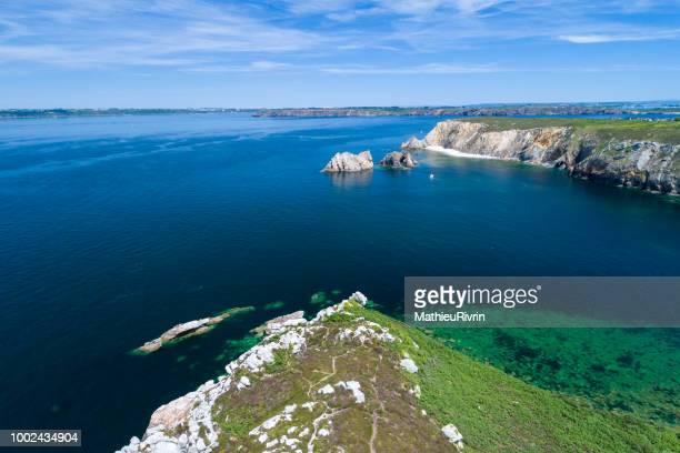 france from the sky : porz naye and camaret sur mer - camaret sur mer photos et images de collection