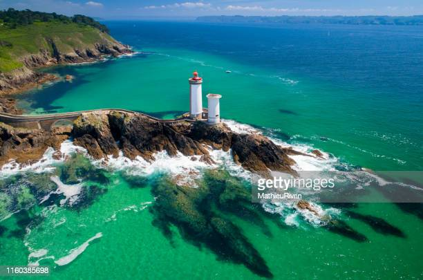 france from the sky : rade de brest and the amazing lighthouse petit minou - brest brittany stock pictures, royalty-free photos & images