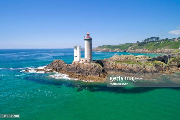 france from the sky : rade de brest and the amazing lighthouse petit minou - phare photos et images de collection