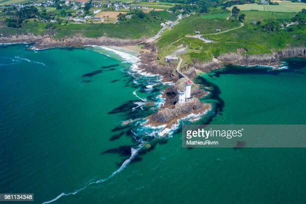 france from the sky : rade de brest and the amazing lighthouse petit minou - finistere stock photos and pictures