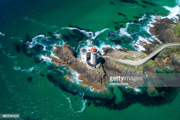 france from the sky : rade de brest, phare du petit minou - brest brittany stock pictures, royalty-free photos & images