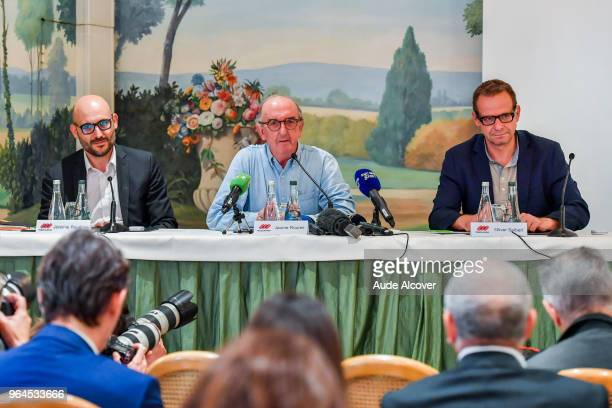France general director Jeremie Roudaire president Jaume Roures and responsible for audiovisual rights Olivier Seibert of MediaPro during the Press...