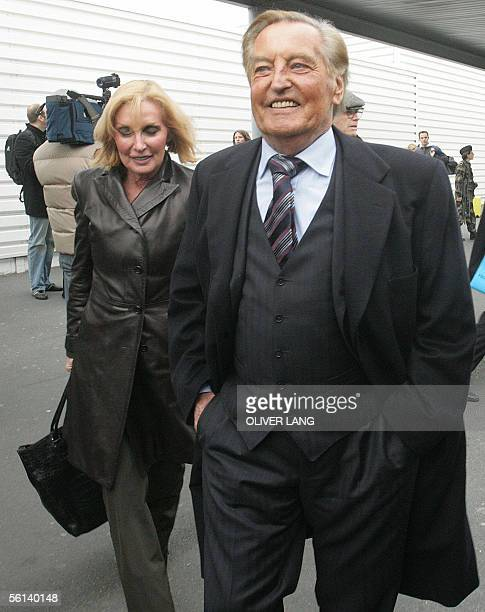 Gerhard MayerVorfelder the president of the German football federation and his wife Margit are about to board the bus of the German national football...