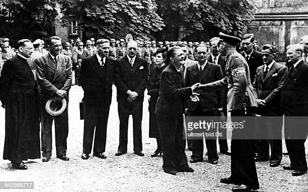 2WW france german occupation Alsacians released from french internment camps are officially welcomed after return by the german governor in...