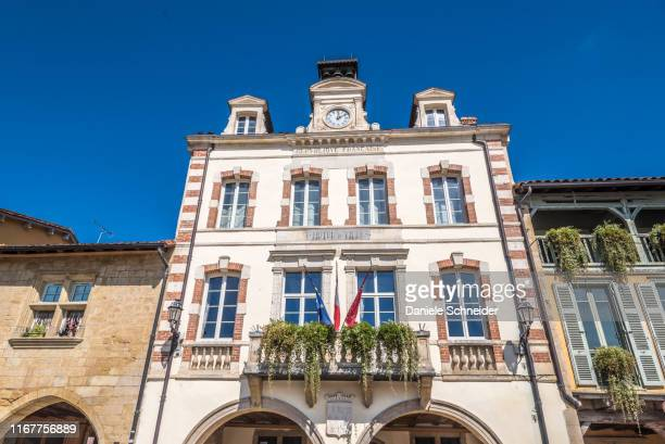 france, gers, former bastide of marciac, city hall, the city hall square (saint james way) - town hall stock pictures, royalty-free photos & images