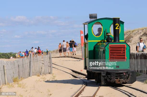 France, Gironde, Bassin d'Arcachon, Cap Ferret, The train of the dunes arriving at the Horizon beach
