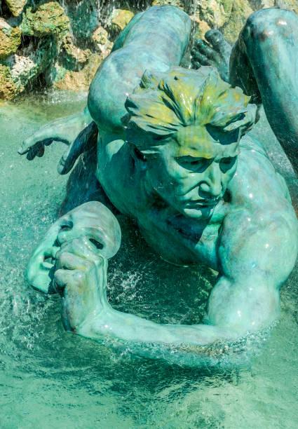 France, Gironde, Bordeaux, Chartrons neighborhood, Esplanade des Quinconces, fontain of the monument aux Girondins, Le Mensonge et son masque (World Heritage UNESCO)