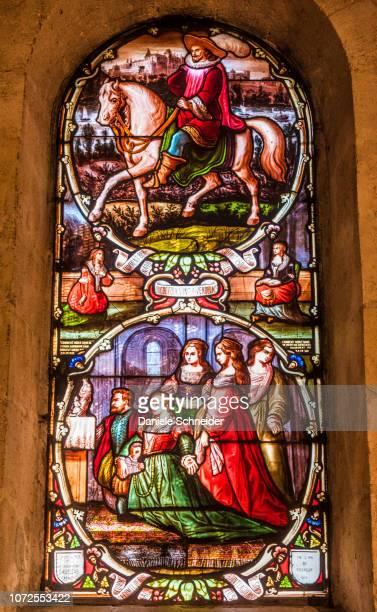 france, gironde, verdelais, bell tower of notre dame basilica, stained glass window depicting a 17th century miracle and bernard de nogaret, duke of foix on horseback (19th century) - de nogaret photos et images de collection