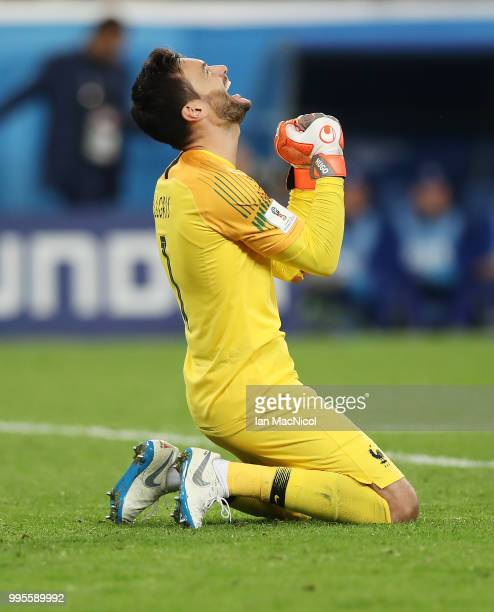 France goalkeeper Hugo Lloris celebrates at full time during the 2018 FIFA World Cup Russia Semi Final match between Belgium and France at Saint...