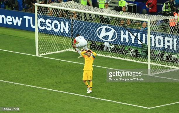 France goalkeeper Hugo Lloris holds his head after his mistake had led to the second Croatian goal by Mario Mandzukic during the 2018 FIFA World Cup...