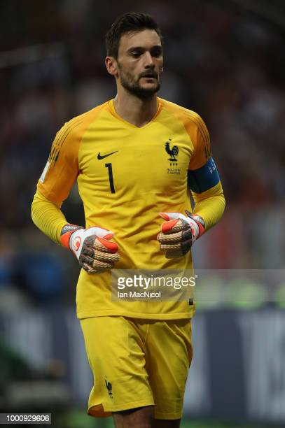 France goalkeeper Hugo Lloris is seen during the 2018 FIFA World Cup Russia Final between France and Croatia at Luzhniki Stadium on July 15 2018 in...