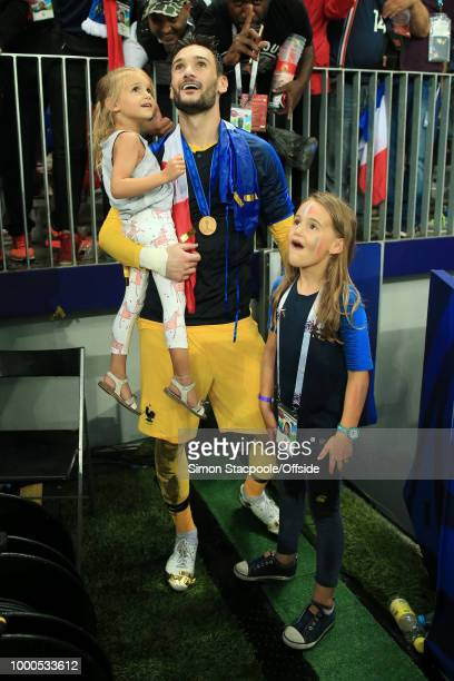 France goalkeeper Hugo Lloris stands with his daughters after the 2018 FIFA World Cup Russia Final between France and Croatia at the Luzhniki Stadium...