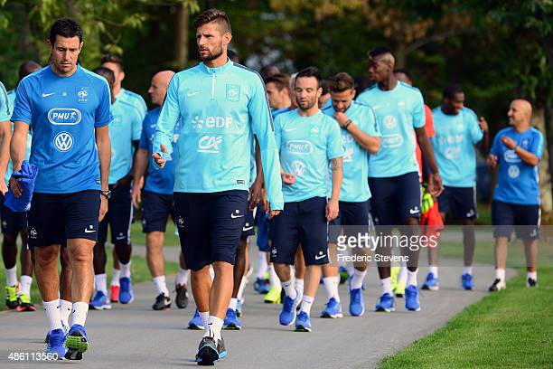 France goalkeepers Benoit Costil and Franck Raviot arrive a training session at the French national football team centre in ClairefontaineenYvelines...