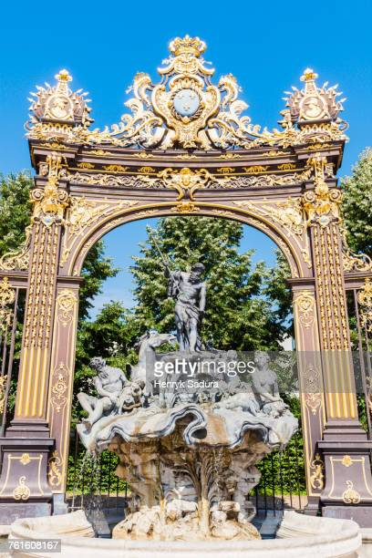 france, grand est, nancy, fountain on place stanislas - nancy stock pictures, royalty-free photos & images