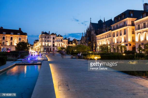 France, Grand Est, Troyes, Illuminated promenade along canal